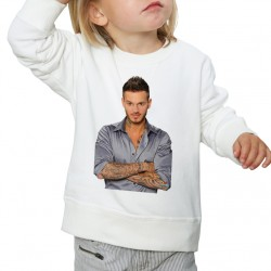 Sweat enfant Blanc Fan de ... Pokora Naturel