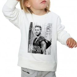Sweat enfant Blanc Fan de ... Pokora Robin de bois nb