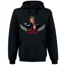 Sweat Capuche Noir Fan de ... Johnny Hallyday Rock'n Roll