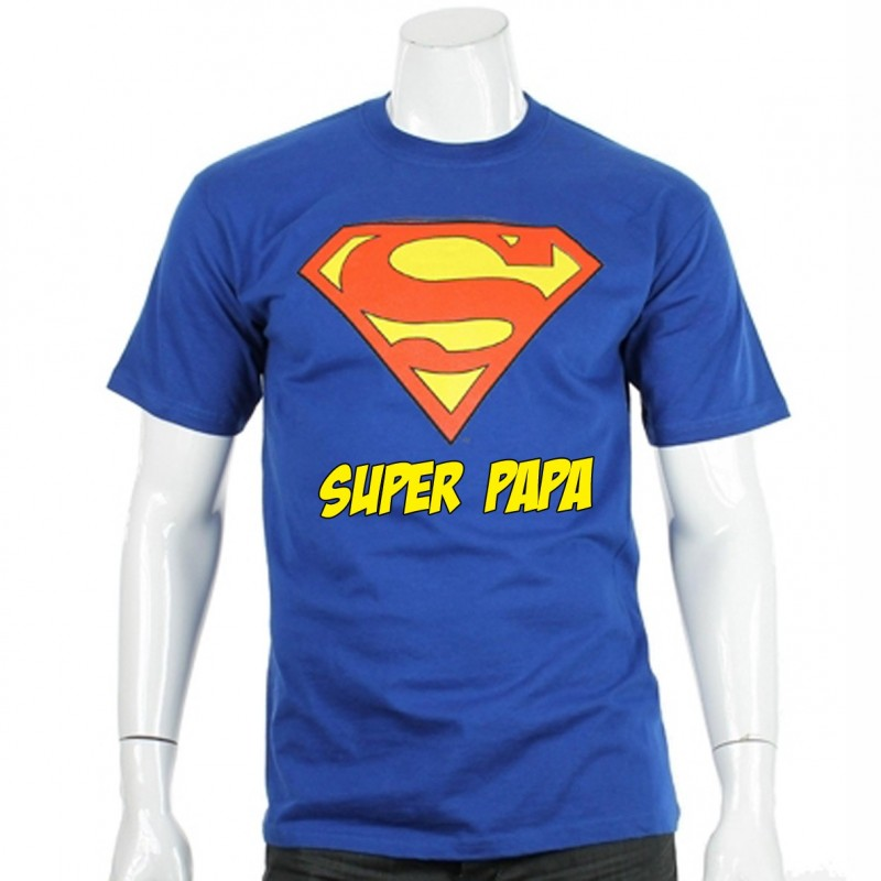 t shirt superman super papa. Black Bedroom Furniture Sets. Home Design Ideas