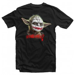 T-Shirt Homme noir Serious Why So Yoda Joker