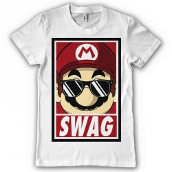 T-Shirt Mario swag plombier - Homme blanc