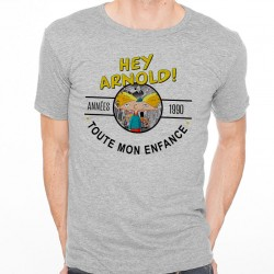 T-Shirt Homme Gris Années 90 - Hey Arnold!