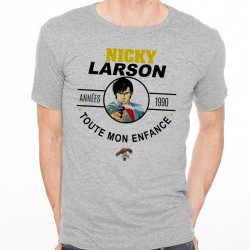 T-Shirt Homme Gris Années 90 - Nicky Larson