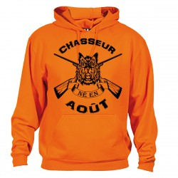 Sweat Capuche Chasseur né en aout Anniversaire - orange