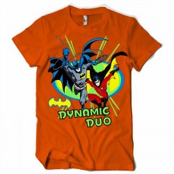 T-Shirt Batman and Robin Drawing Vintage Comic - Homme orange