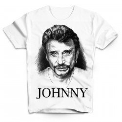 T-Shirt Fan de... Johnny Hallyday illustration - homme blanc