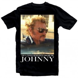 T-Shirt Fan de... Johnny Hallyday on a tous - homme noir