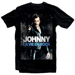T-Shirt Fan de... Johnny Hallyday la vie en rock - homme noir