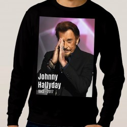 Sweat adulte Fan de... Johnny Hallyday forever - noir