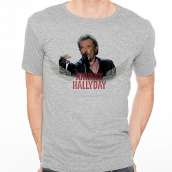 T-Shirt Homme Gris Fan de ... Johnny Hallyday Rock'n Roll