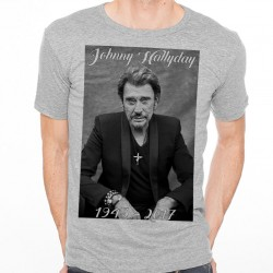 T-Shirt Fan de... Johnny Hallyday RIP - homme GRIS