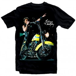 T-Shirt Fan de... Johnny Hallyday Harley yellow - homme noir