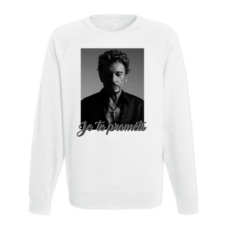 Sweat Adulte Blanc - Johnny : Je te promets
