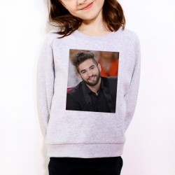 Sweat enfant Gris Fan de... Kendji Girac sourire