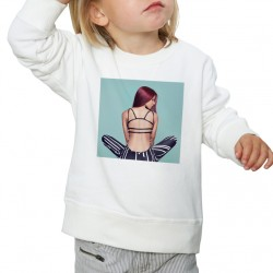 Sweat enfant Blanc Fan de... Shy'm de dos