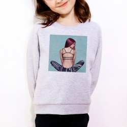 Sweat enfant Gris Fan de... Shy'm de dos