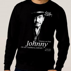 Sweat adulte Fan de... Johnny Hallyday Repose en paix - noir