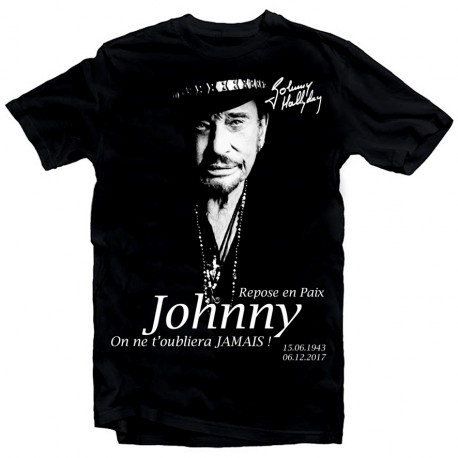 T-Shirt Fan de... Johnny Hallyday Repose en paix - homme noir