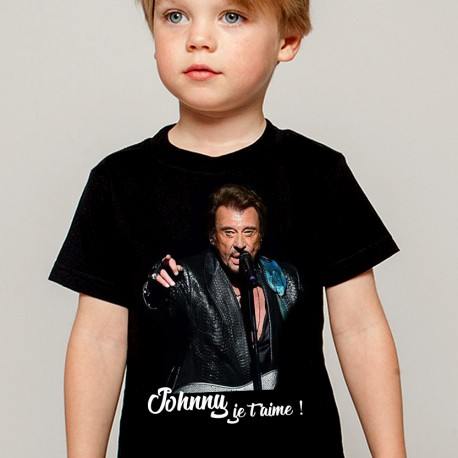 T-Shirt Enfant noir Fan de ... Johnny Hallyday je t'aime