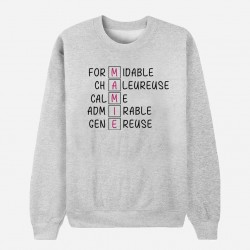 Sweat Adulte Gris - Lettres MAMIE