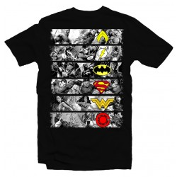 T-Shirt Superman Batman Wonder Woman Justice League - Homme noir