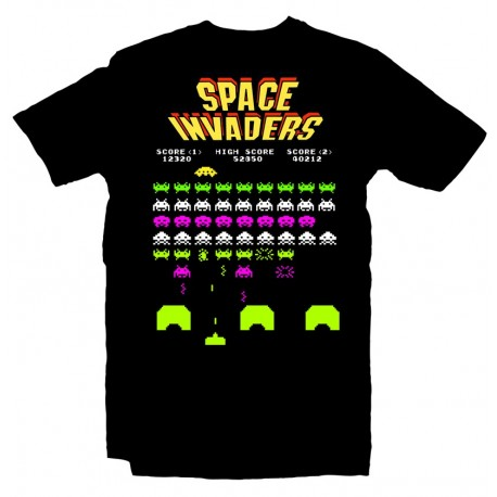T-Shirt Space Invaders Arcade Game Atari - Homme noir