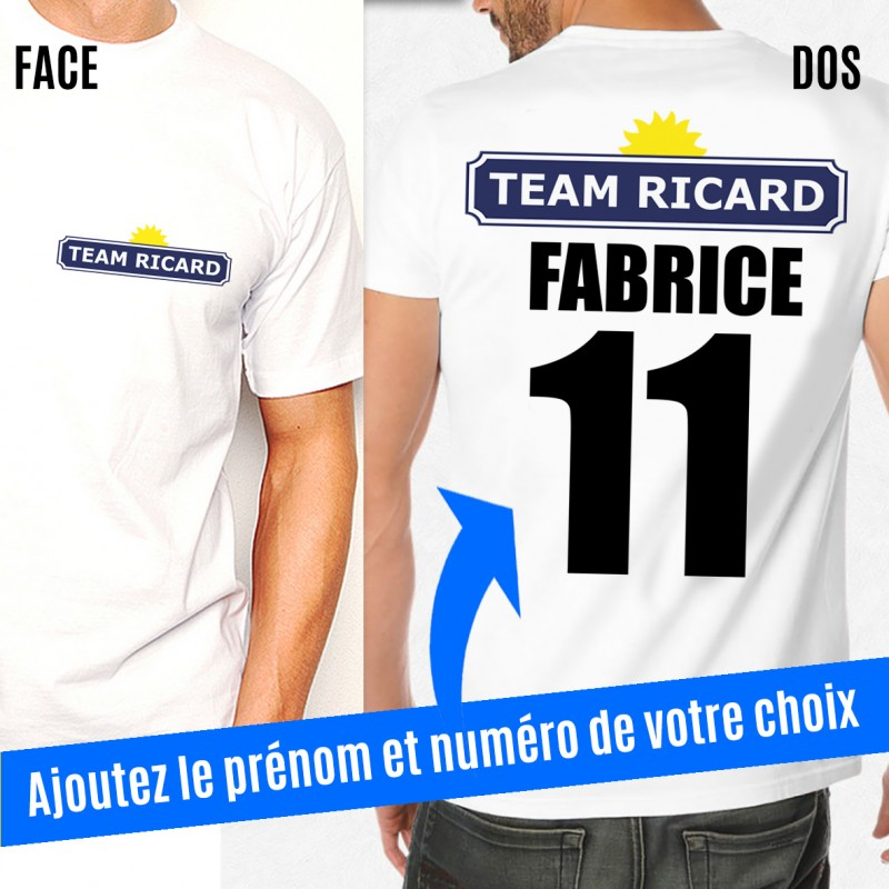 t shirt team ricard personnalis avec pr nom et num ro. Black Bedroom Furniture Sets. Home Design Ideas