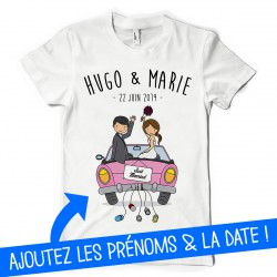 T-Shirt Just married Prénoms et date du mariage