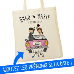 Tote Bag Just married Prénoms et date du mariage