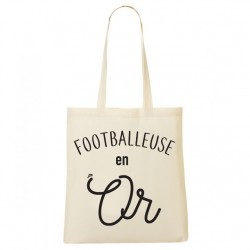 Tote Bag Footballeuse en Or