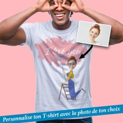 T-Shirt personnalisé I love you avec photo