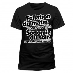 T-shirt Noir Fellation du matin, repos du vagin...