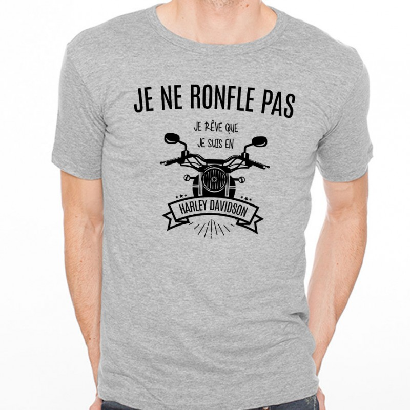 t shirt homme gris je ne ronfle pas je r ve que je suis en harley davidson ketshooop t. Black Bedroom Furniture Sets. Home Design Ideas