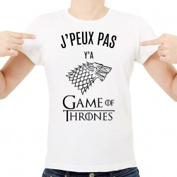 T-shirt Homme Blanc J'peux pas y'a Game of Thrones
