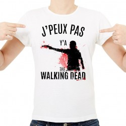 T-shirt Homme Blanc J'peux pas y'a The Walking Dead