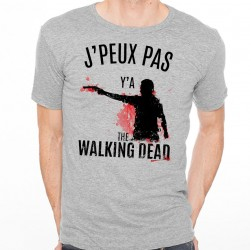 T-shirt Homme Gris J'peux pas y'a The Walking Dead