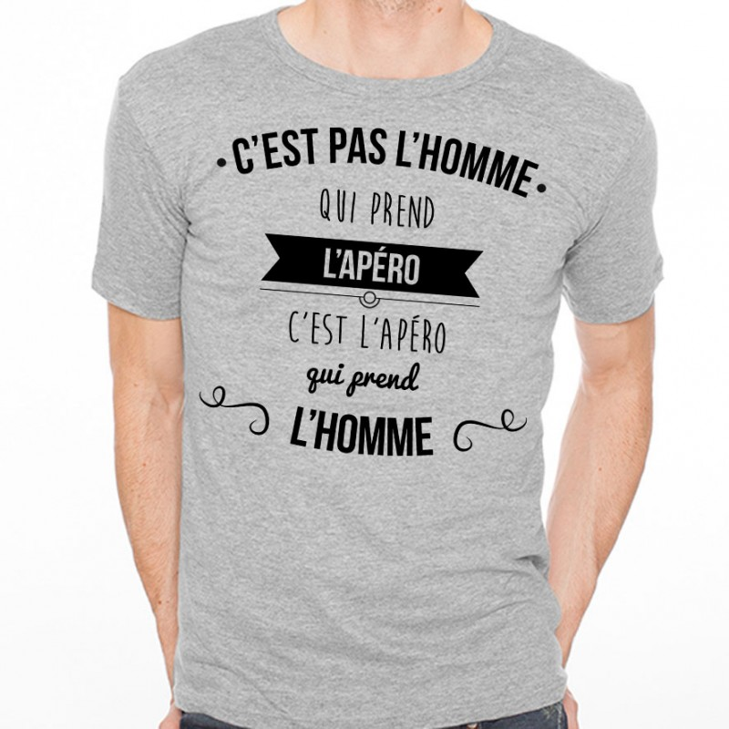 t shirt homme gris c est pas l homme qui prend l alcool c est l alcool qui prend l 39 homme. Black Bedroom Furniture Sets. Home Design Ideas