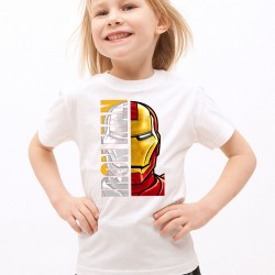 T-Shirt Enfant Blanc Super-héros Iron Man