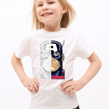 T-Shirt Enfant Blanc Super-héros Captain America