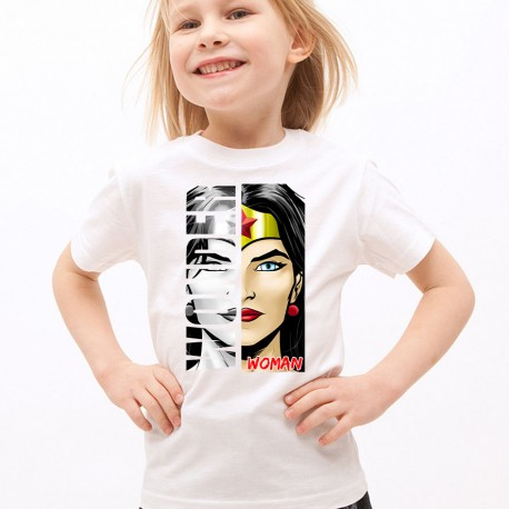 T-Shirt Enfant Blanc Super-héros Wonder Woman