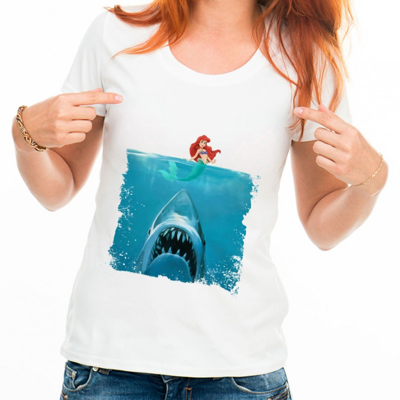 t shirt femme blanc les dents de la mer et la petite sir ne ketshooop t shirts anniversaires. Black Bedroom Furniture Sets. Home Design Ideas