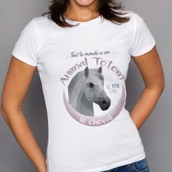 T-Shirt Femme Blanc ANIMAL TOTEM Cheval