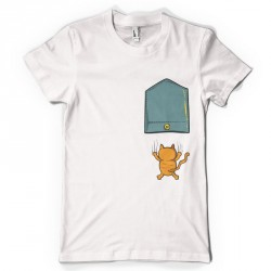T-Shirt mixte Blanc Pocket Chat qui griffe