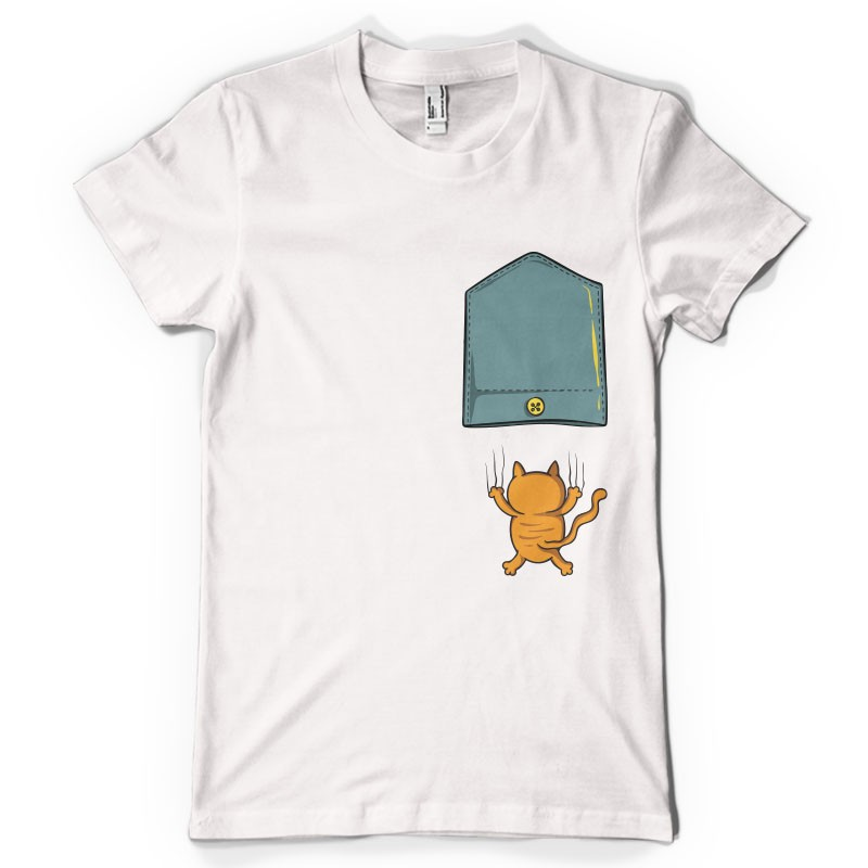t shirt mixte blanc pocket chat qui griffe ketshooop t. Black Bedroom Furniture Sets. Home Design Ideas