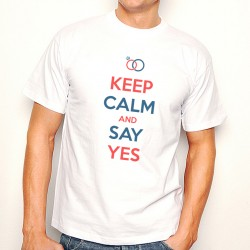 T-Shirt Homme Blanc KEEP CALM AND SAY YES