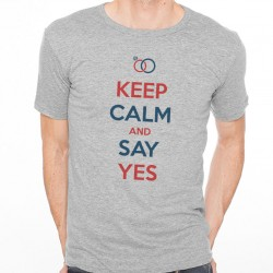 T-Shirt Homme Gris KEEP CALM AND SAY YES