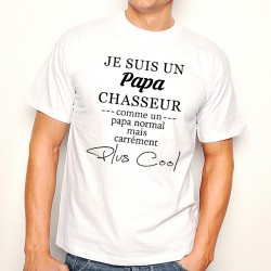 T-Shirt Homme Blanc Papa Chasseur