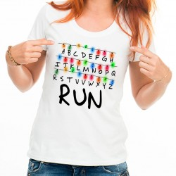 T-Shirt Femme Blanc Stranger Things RUN