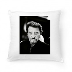 Coussin Fan de ... Johnny Hallyday black and white